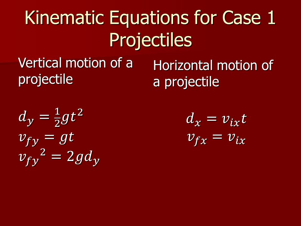 Kinematic Equations for Case 1 Projectiles