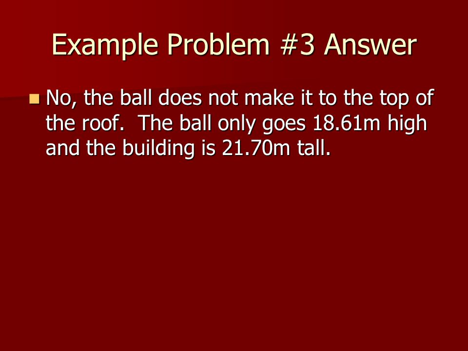 Example Problem #3 Answer