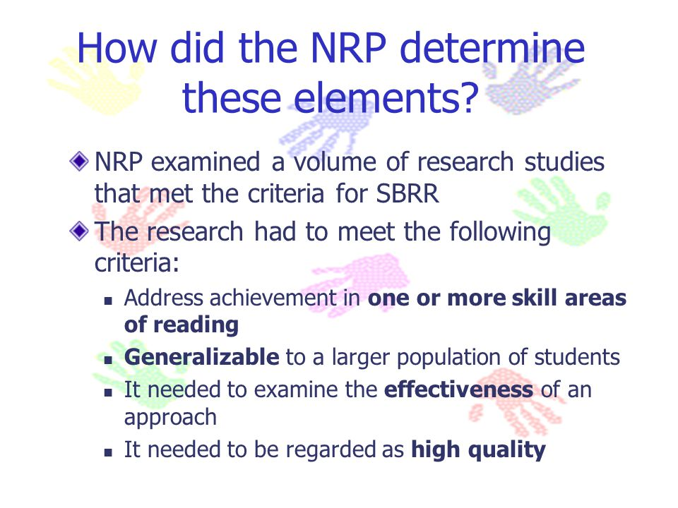 How did the NRP determine these elements