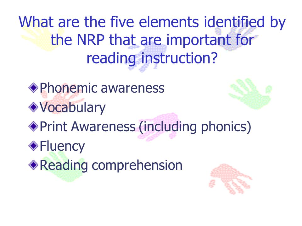 What are the five elements identified by the NRP that are important for reading instruction