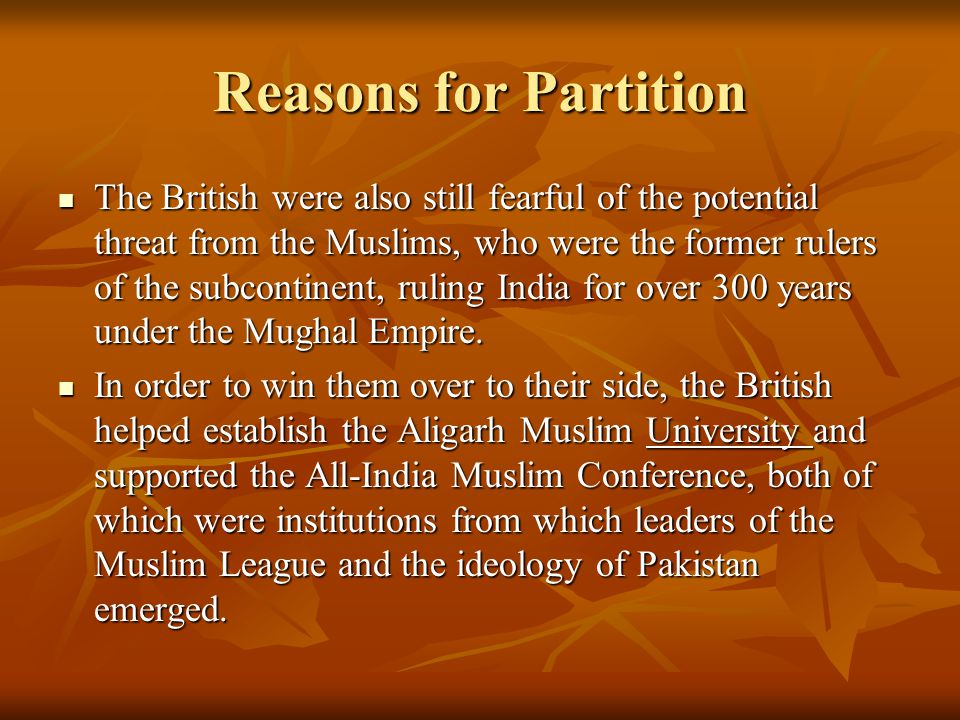 what is the reason behind partition of india and pakistan