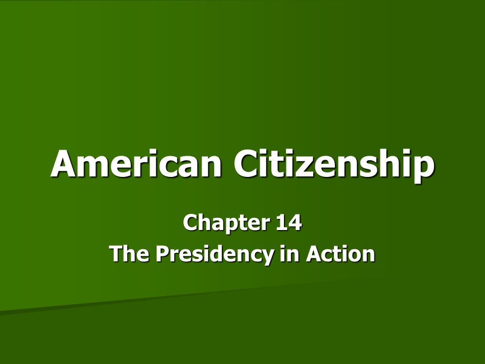 Chapter 14 The Presidency in Action