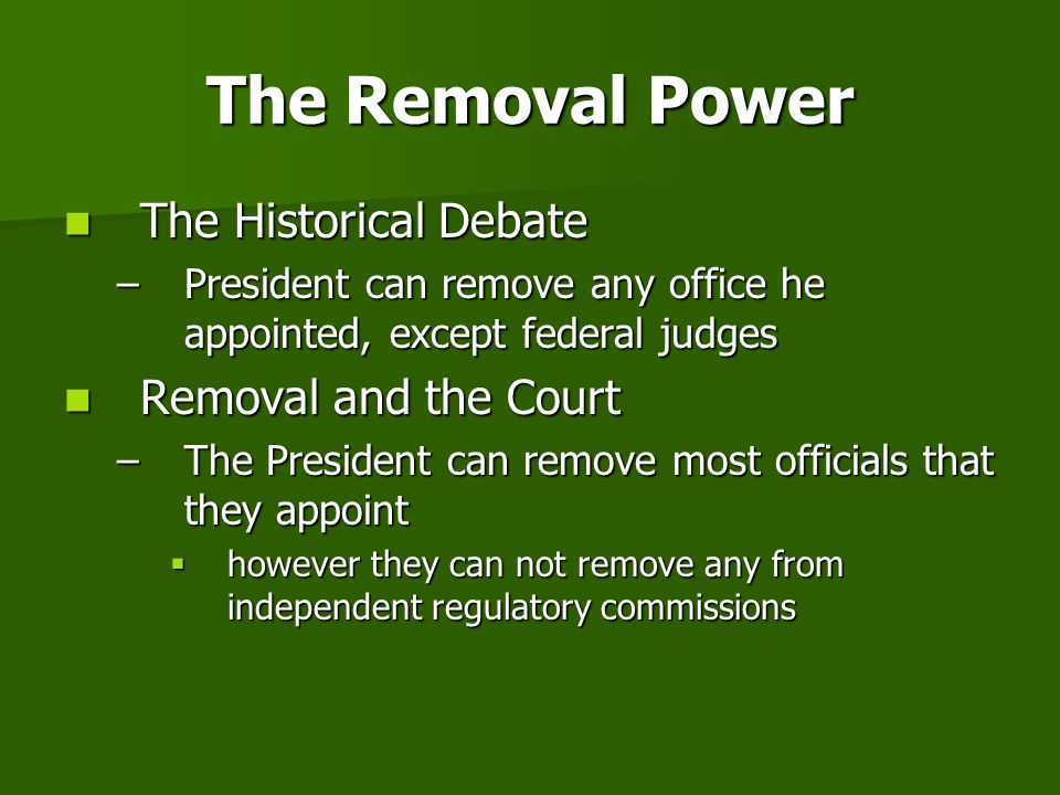 The Removal Power The Historical Debate Removal and the Court