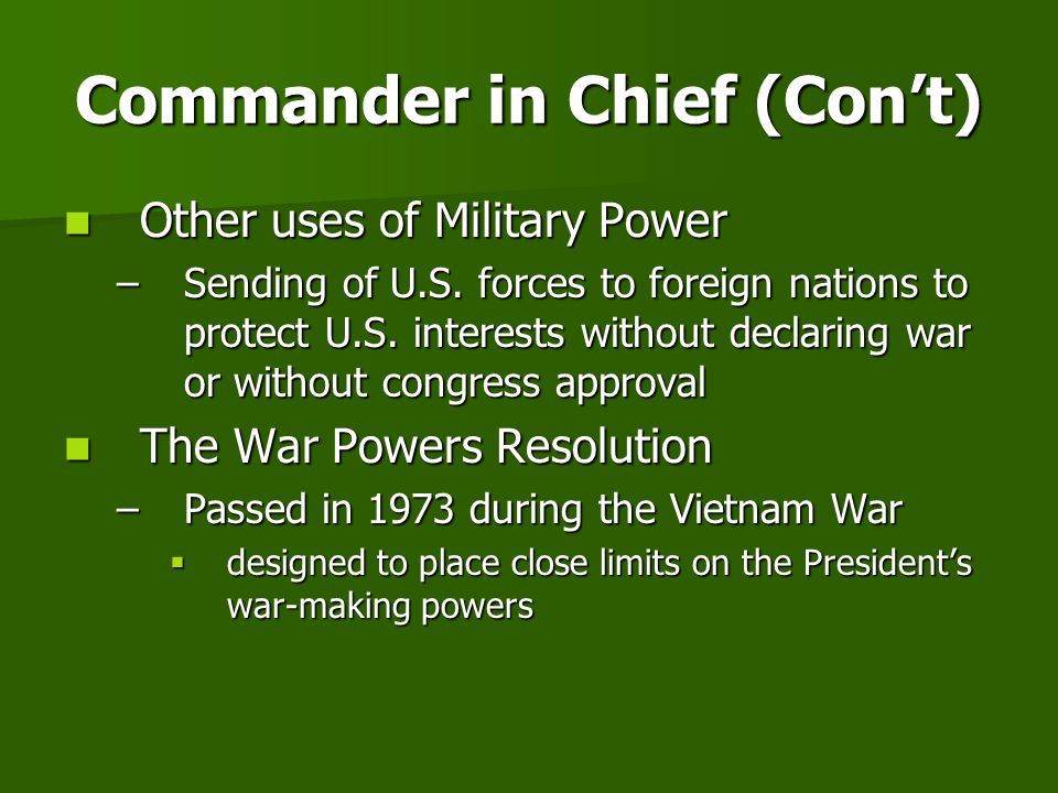 Commander in Chief (Con't)