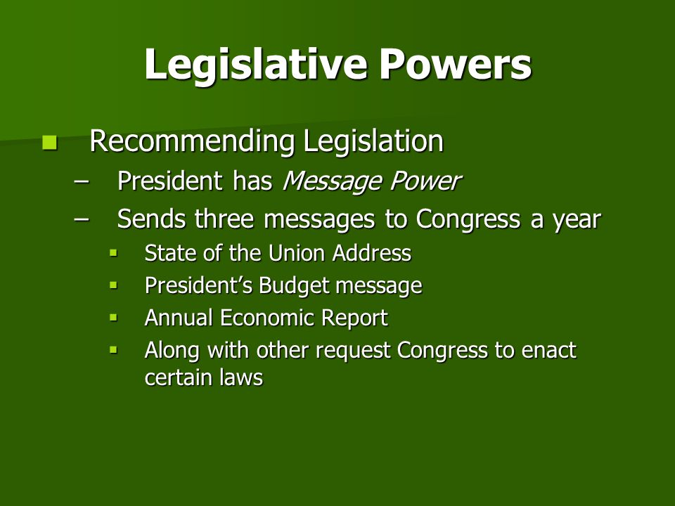 Legislative Powers Recommending Legislation