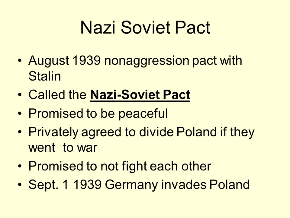 Nazi Soviet Pact August 1939 nonaggression pact with Stalin