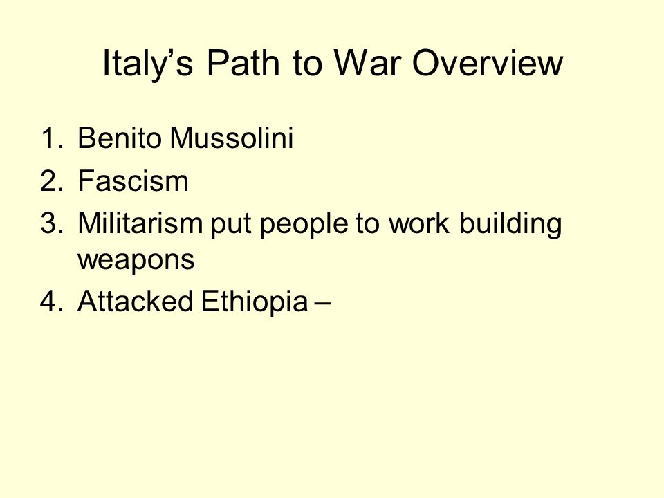 Italy's Path to War Overview
