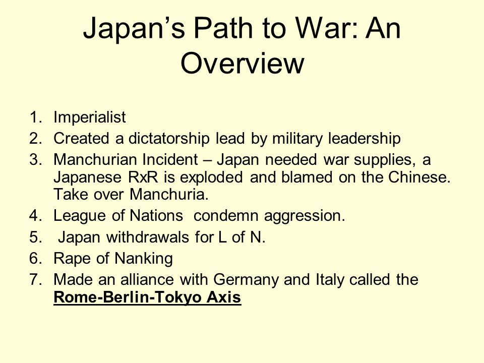 Japan's Path to War: An Overview