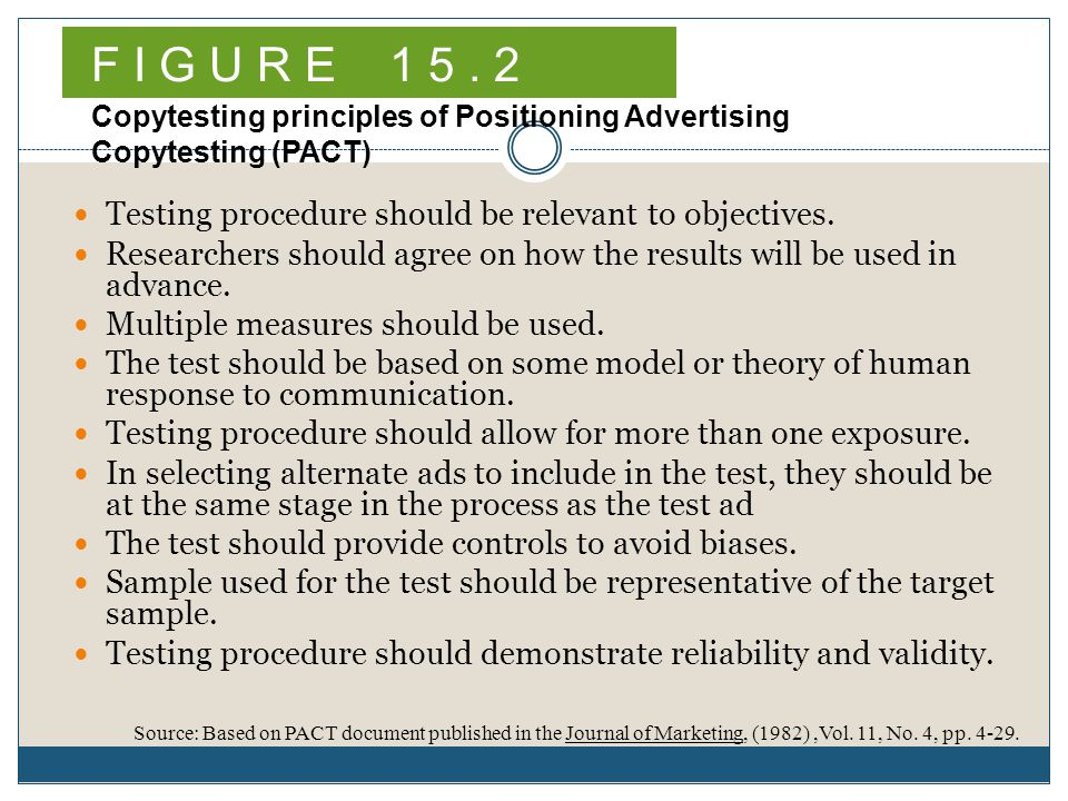 F I G U R E Copytesting principles of Positioning Advertising Copytesting (PACT) Testing procedure should be relevant to objectives.
