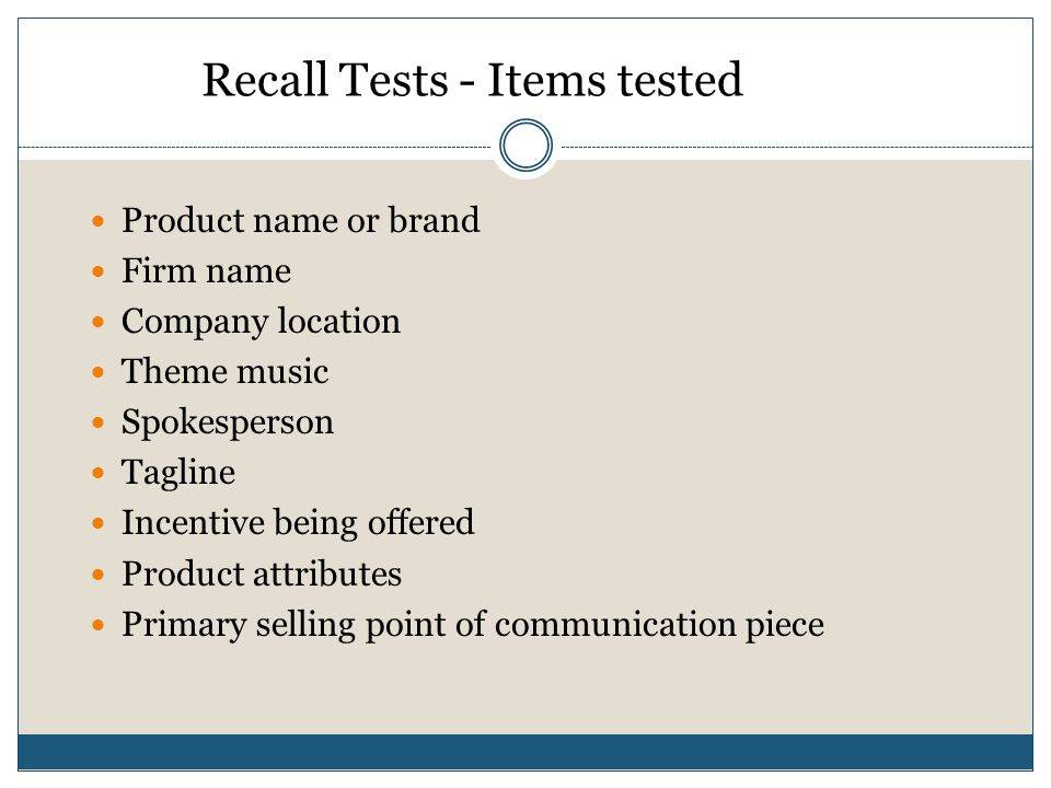Recall Tests - Items tested