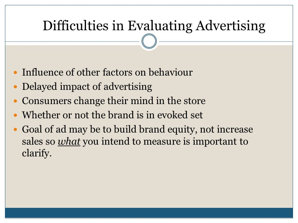 Difficulties in Evaluating Advertising