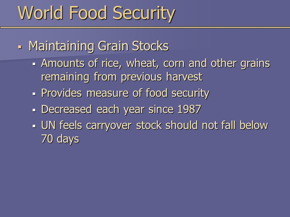 World Food Security Maintaining Grain Stocks