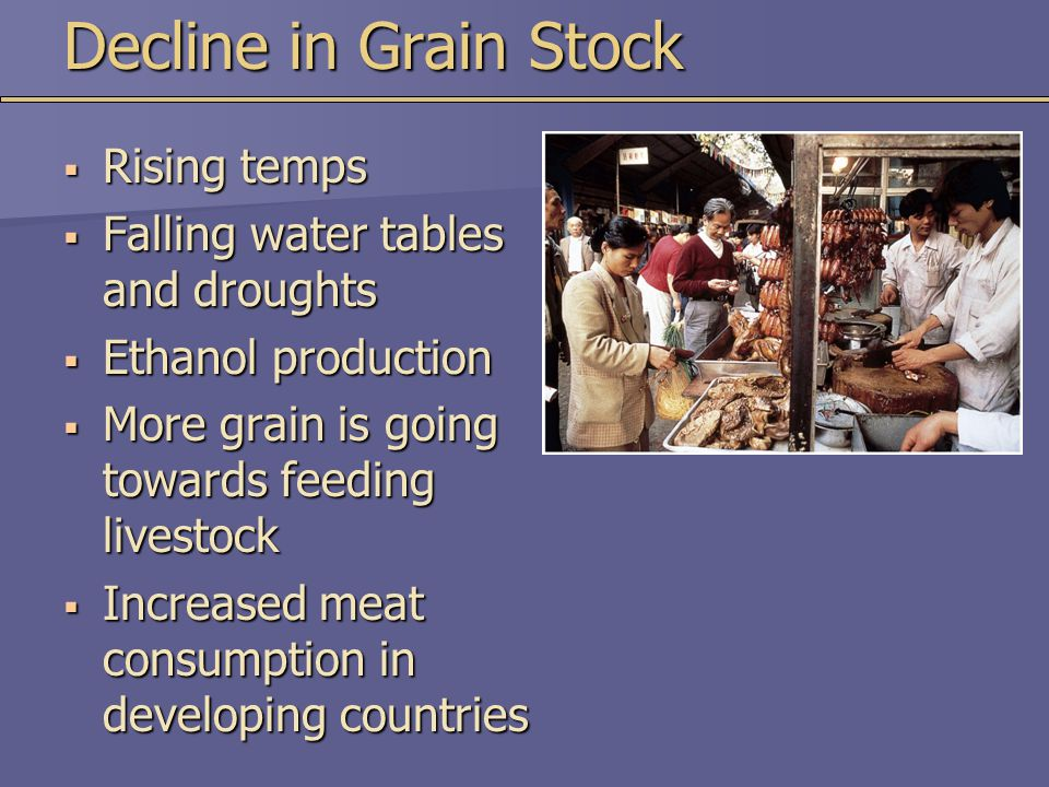 Decline in Grain Stock Rising temps Falling water tables and droughts