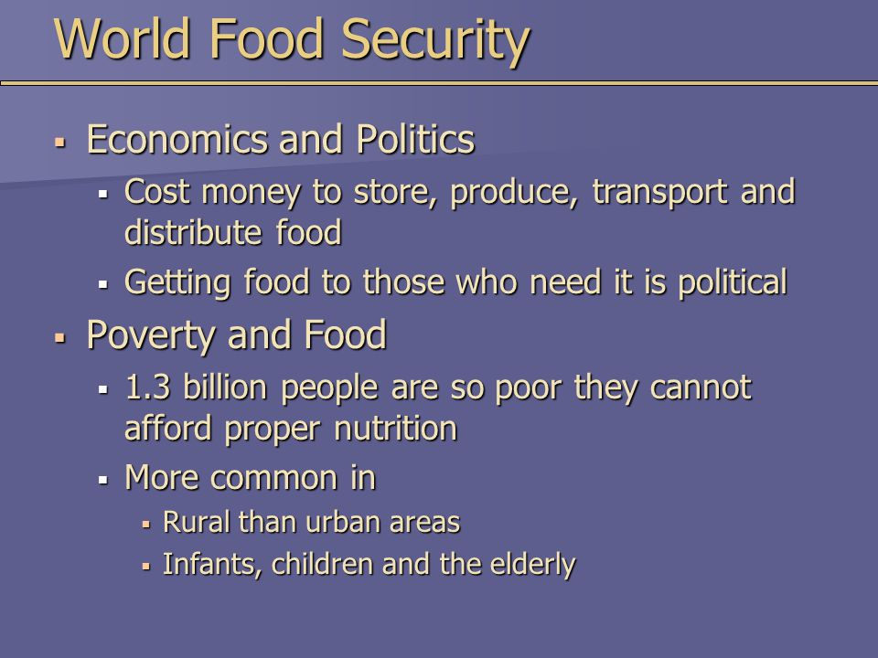 World Food Security Economics and Politics Poverty and Food