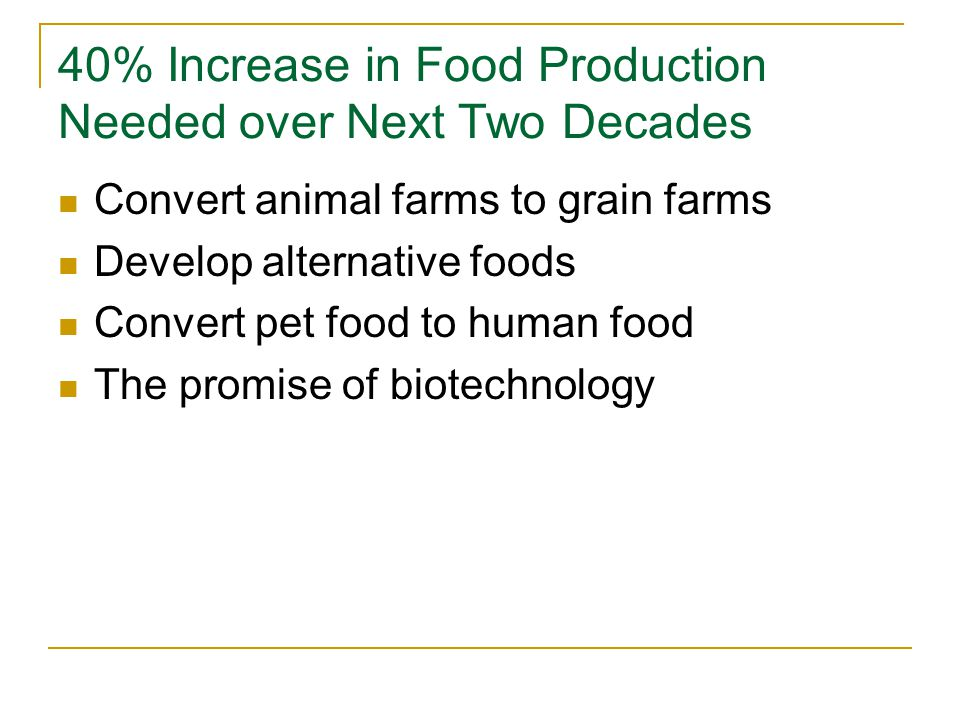 40% Increase in Food Production Needed over Next Two Decades