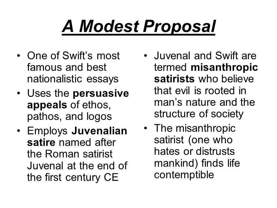 A Modest Proposal Appeal To Emotions