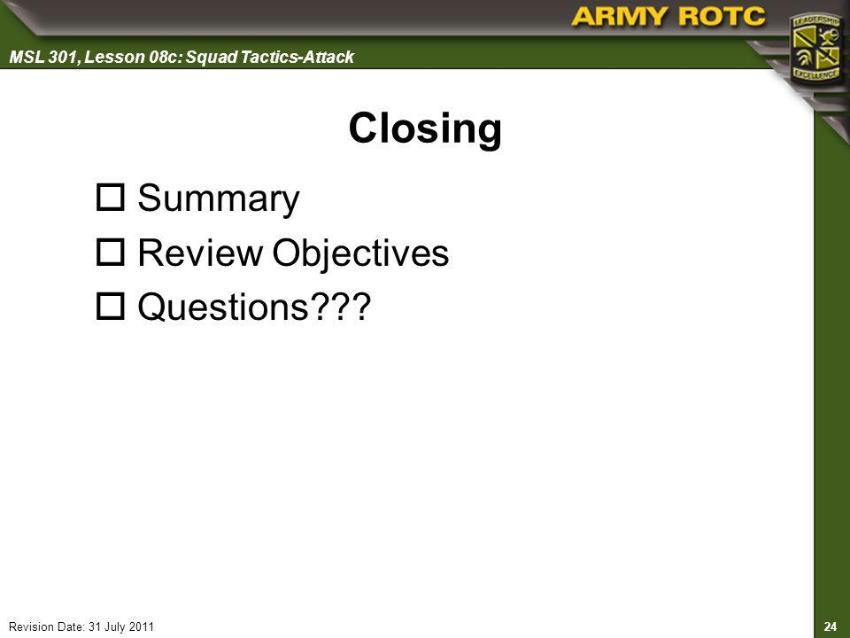 Closing Summary Review Objectives Questions