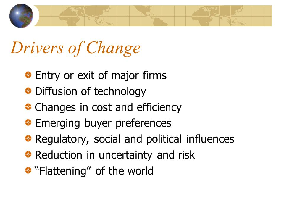 Drivers of Change Entry or exit of major firms Diffusion of technology