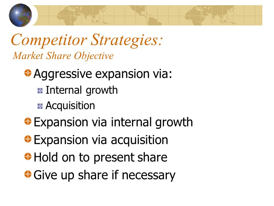 Competitor Strategies: Market Share Objective