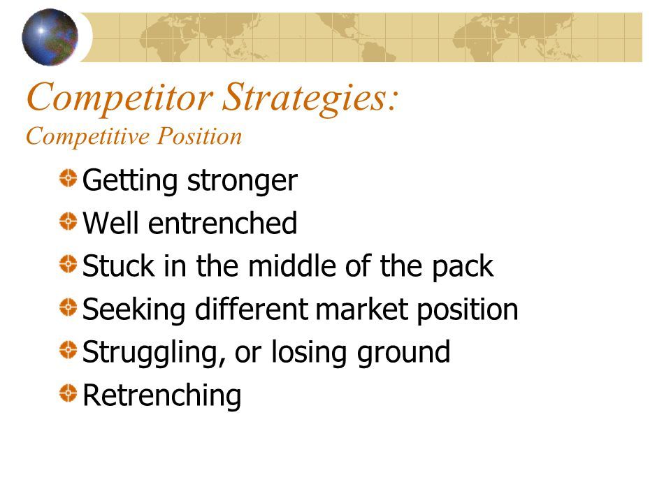 Competitor Strategies: Competitive Position