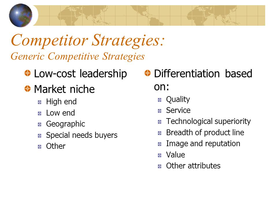 Competitor Strategies: Generic Competitive Strategies