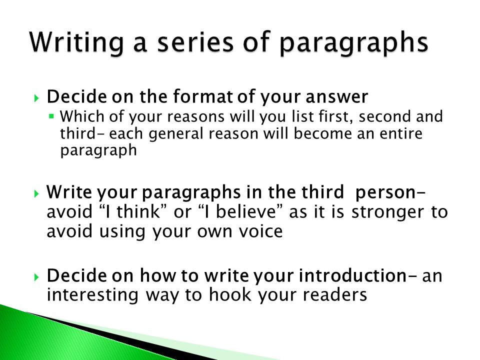 Writing a series of paragraphs