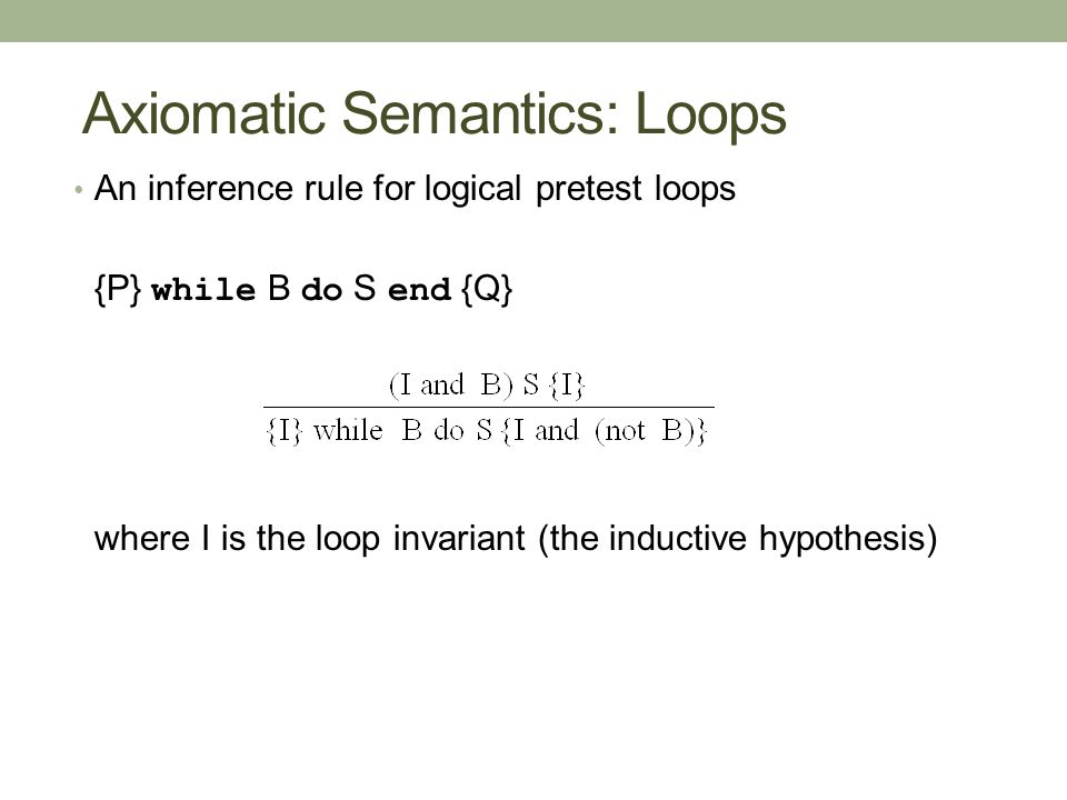 Axiomatic Semantics: Loops