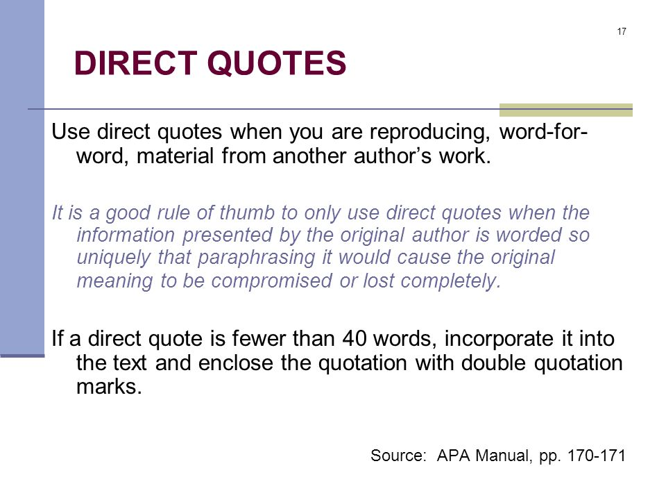 The Basics Of APA Format Ppt Video Online Download Fascinating Apa Direct Quote