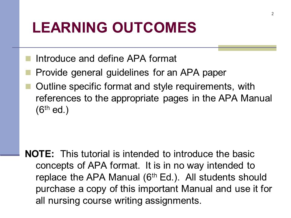 learning outcomes introduce and define apa format