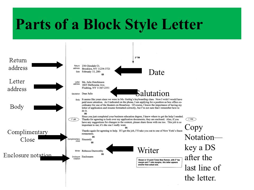 Complimentary Close Writer Enclosure Notation. Parts Of A Block Style Letter