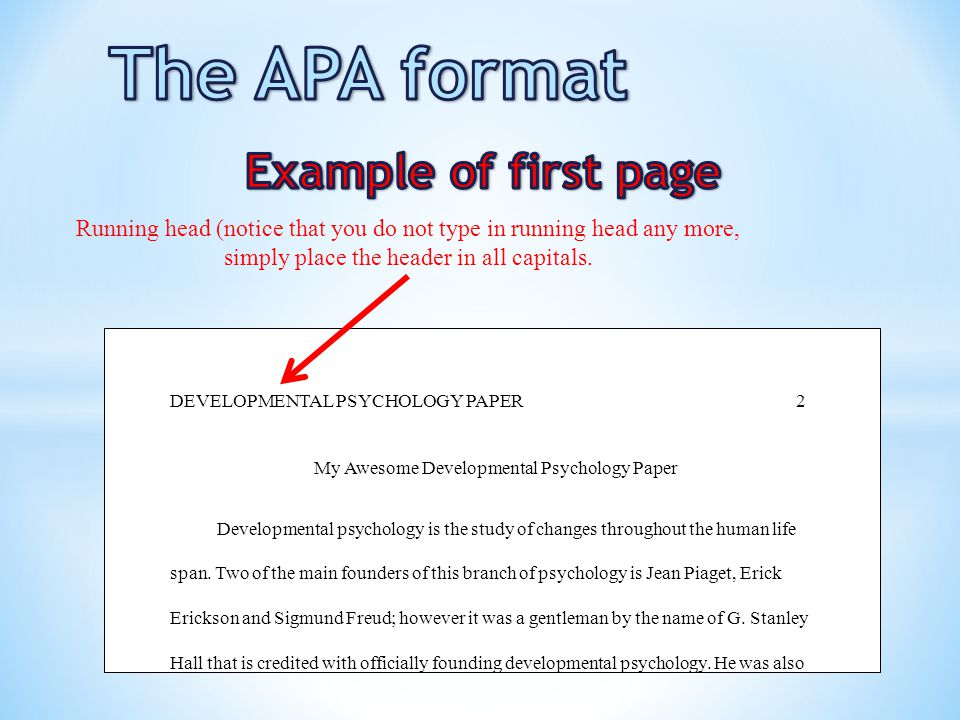 the apa format the first page of the body 5 my awesome developmental psychology paper