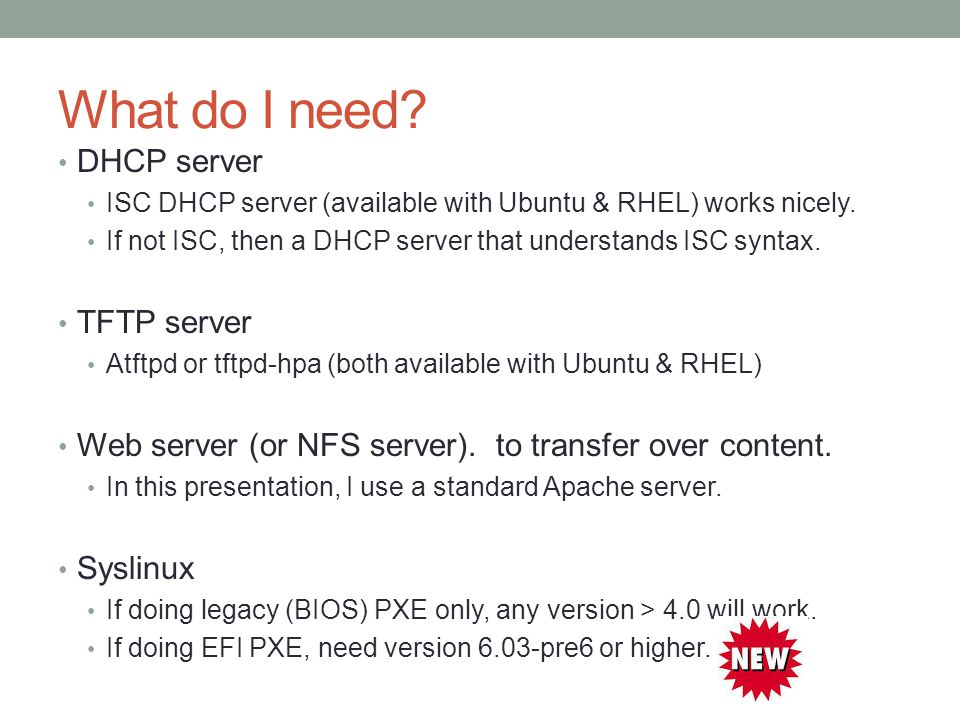 Creating a [legacy & EFI] PXE server using pxelinux - ppt
