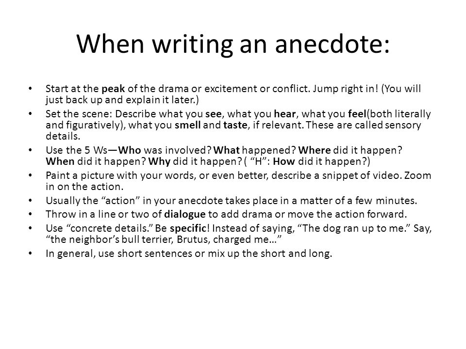 How to effectively integrate anecdotes into your writing - ppt video ...