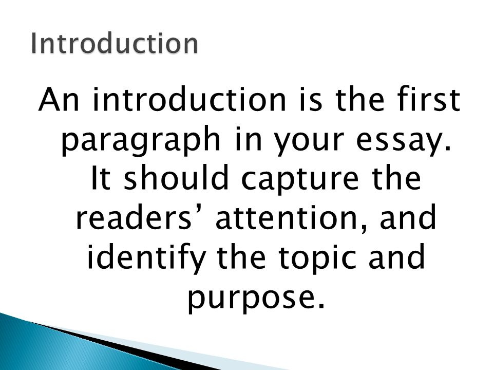 Introduction An introduction is the first paragraph in your essay.