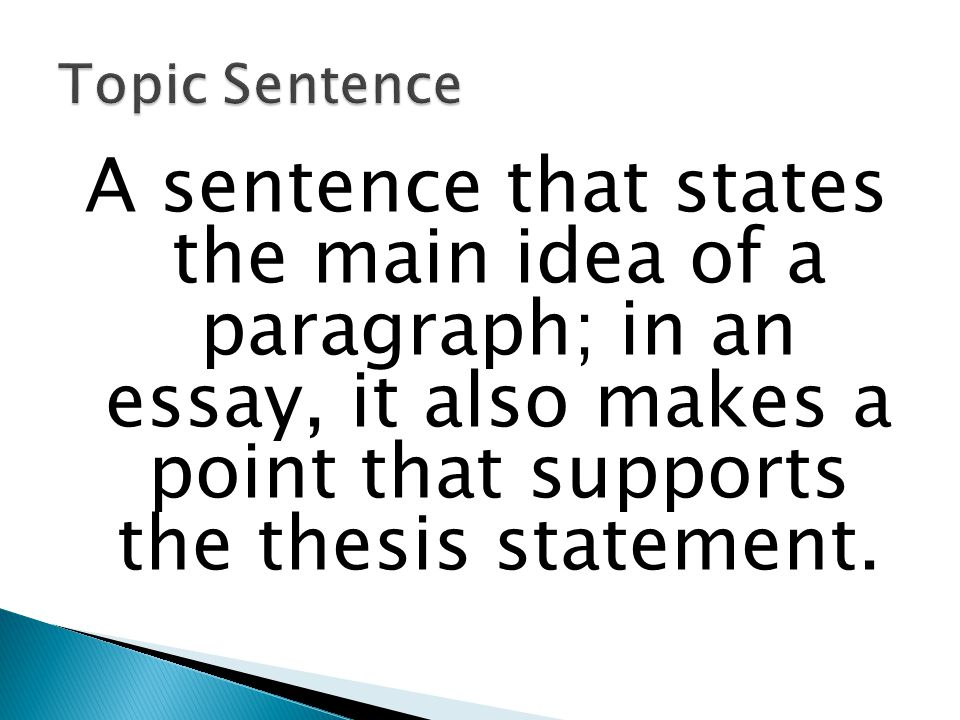 Topic Sentence A sentence that states the main idea of a paragraph; in an essay, it also makes a point that supports the thesis statement.