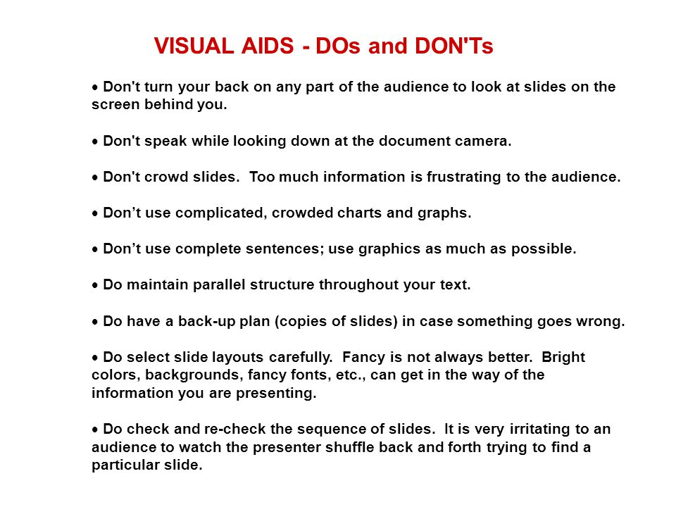 VISUAL AIDS - DOs and DON Ts