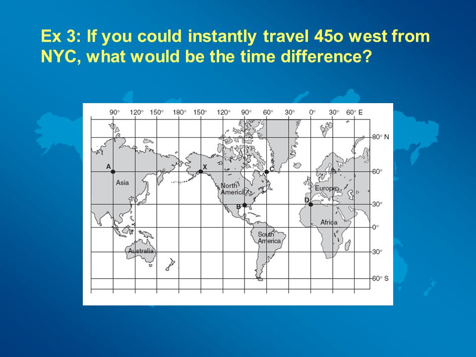 Ex 3: If you could instantly travel 45o west from NYC, what would be the time difference