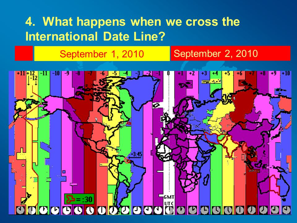 4. What happens when we cross the International Date Line
