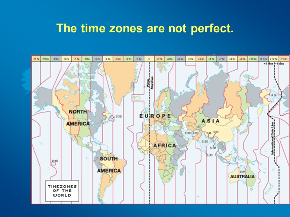 The time zones are not perfect.