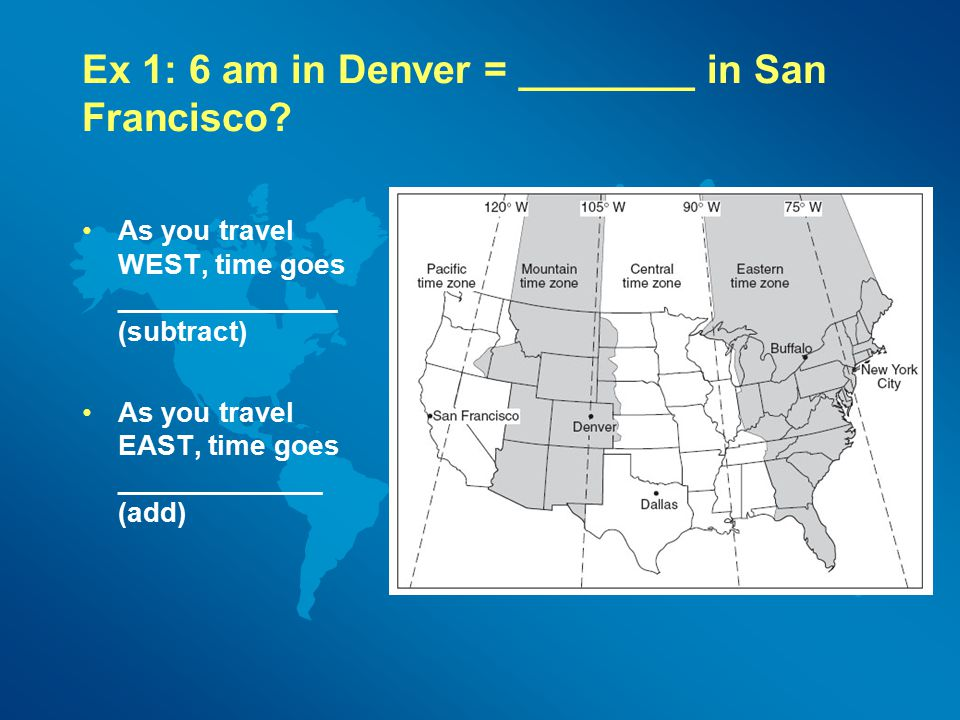 Ex 1: 6 am in Denver = ________ in San Francisco