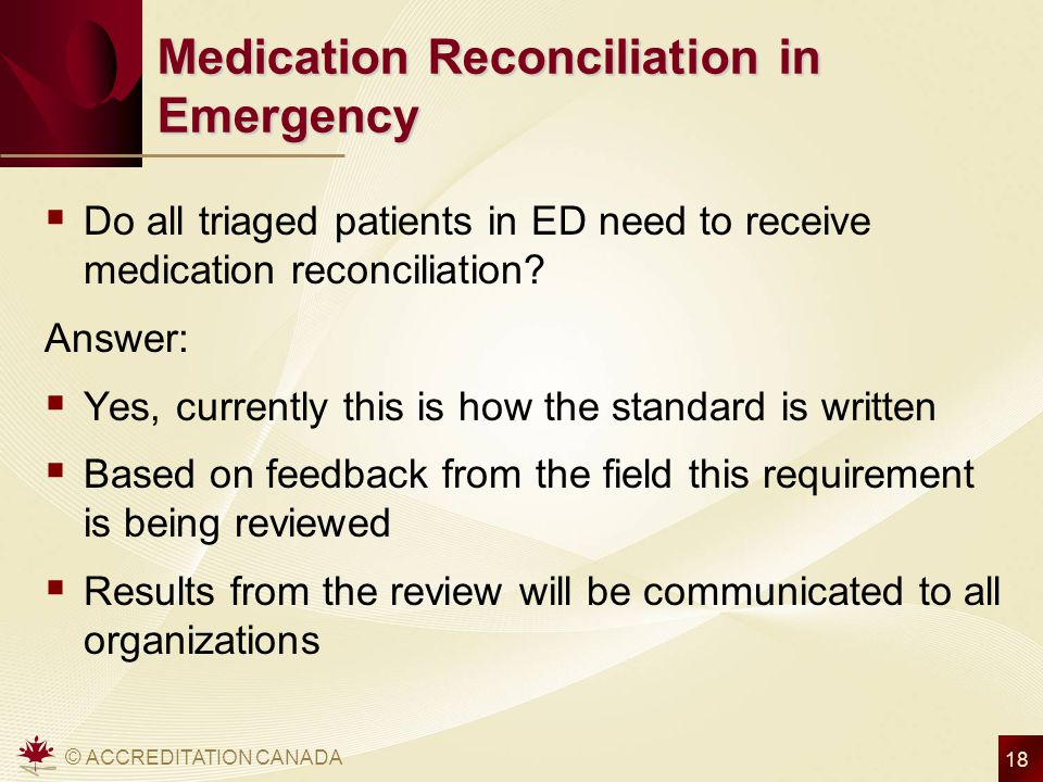 Medication Reconciliation in Emergency