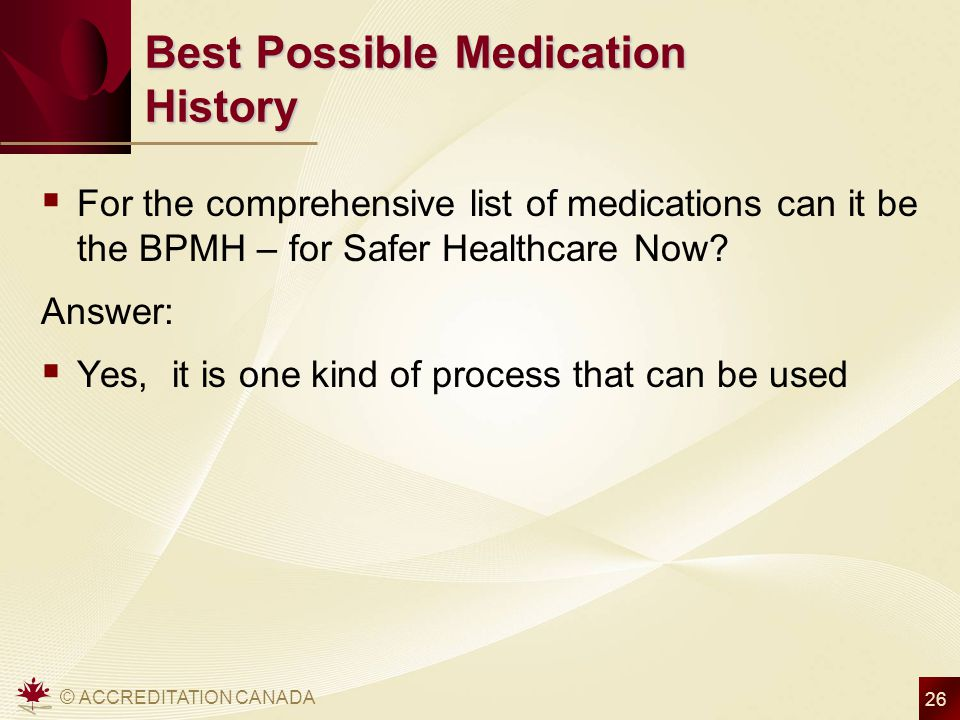 Best Possible Medication History