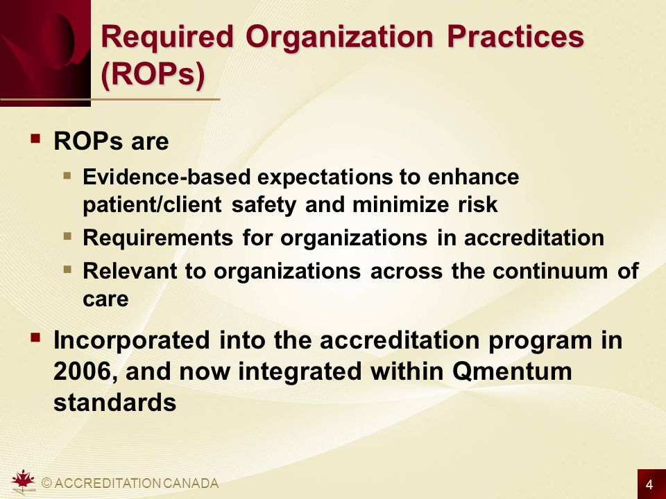 Required Organization Practices (ROPs)