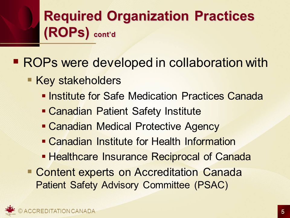 Required Organization Practices (ROPs) cont'd