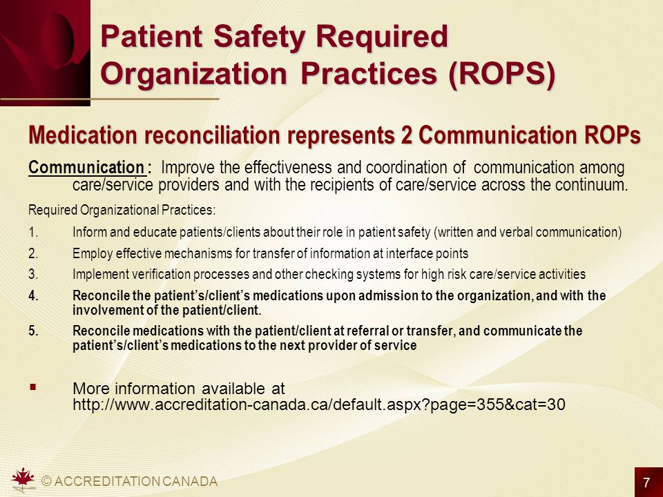 Patient Safety Required Organization Practices (ROPS)