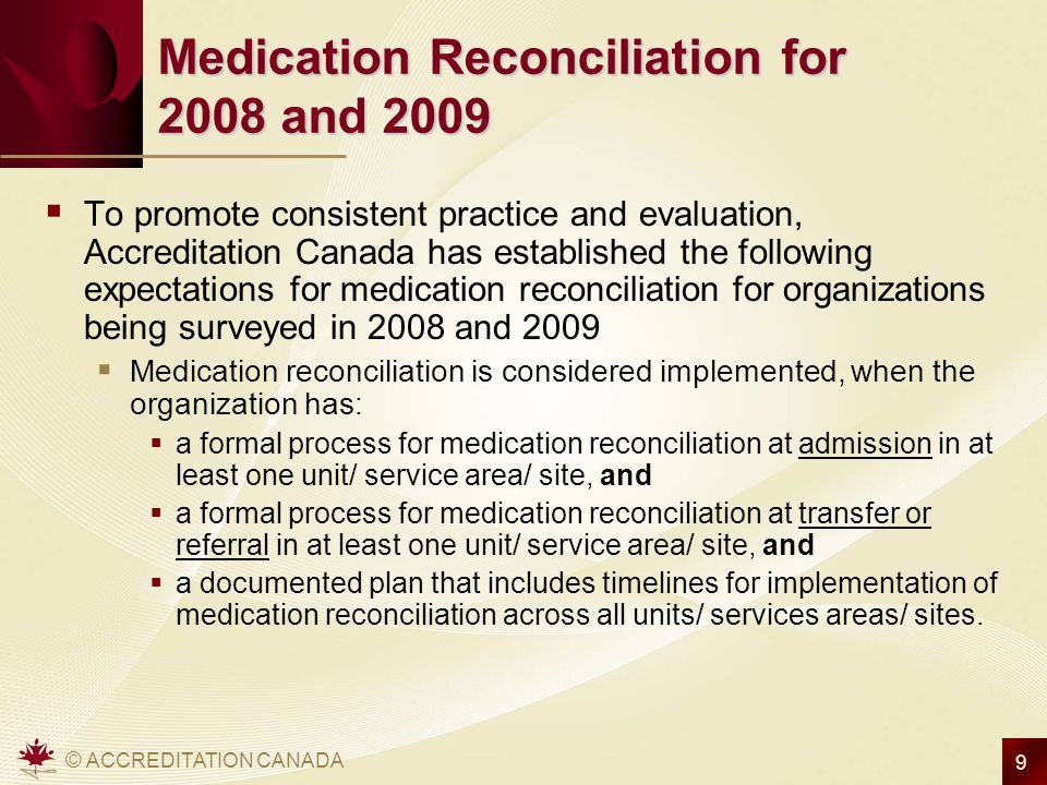 Medication Reconciliation for 2008 and 2009