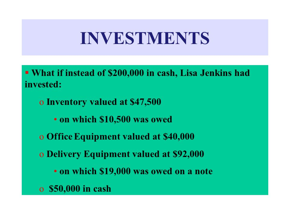 INVESTMENTS What if instead of $200,000 in cash, Lisa Jenkins had invested: Inventory valued at $47,500.