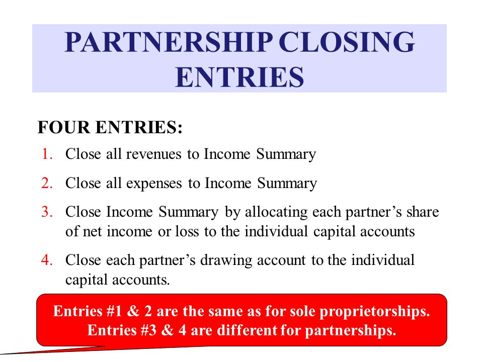 PARTNERSHIP CLOSING ENTRIES