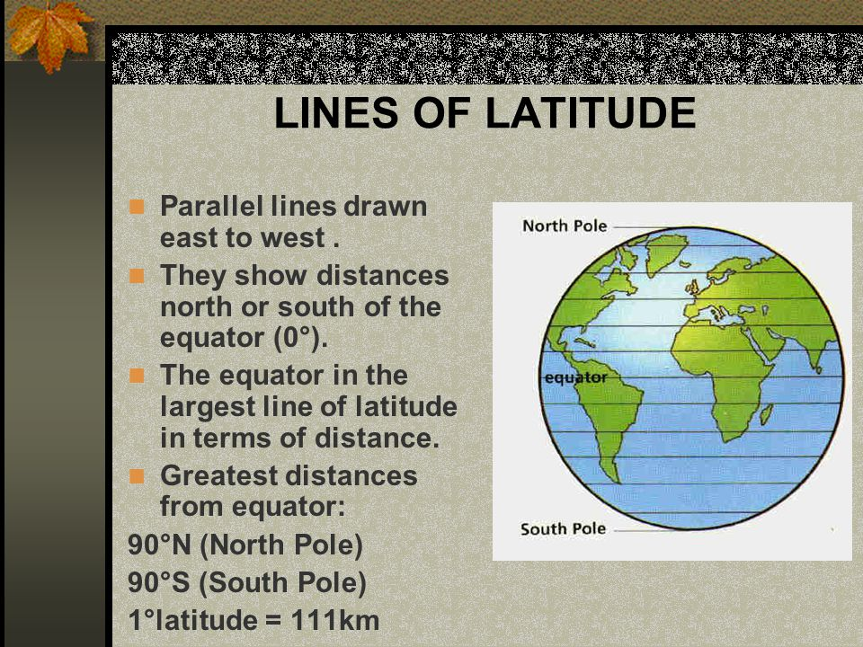 LINES OF LATITUDE Parallel lines drawn east to west .