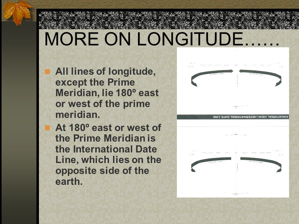 MORE ON LONGITUDE…… All lines of longitude, except the Prime Meridian, lie 180º east or west of the prime meridian.